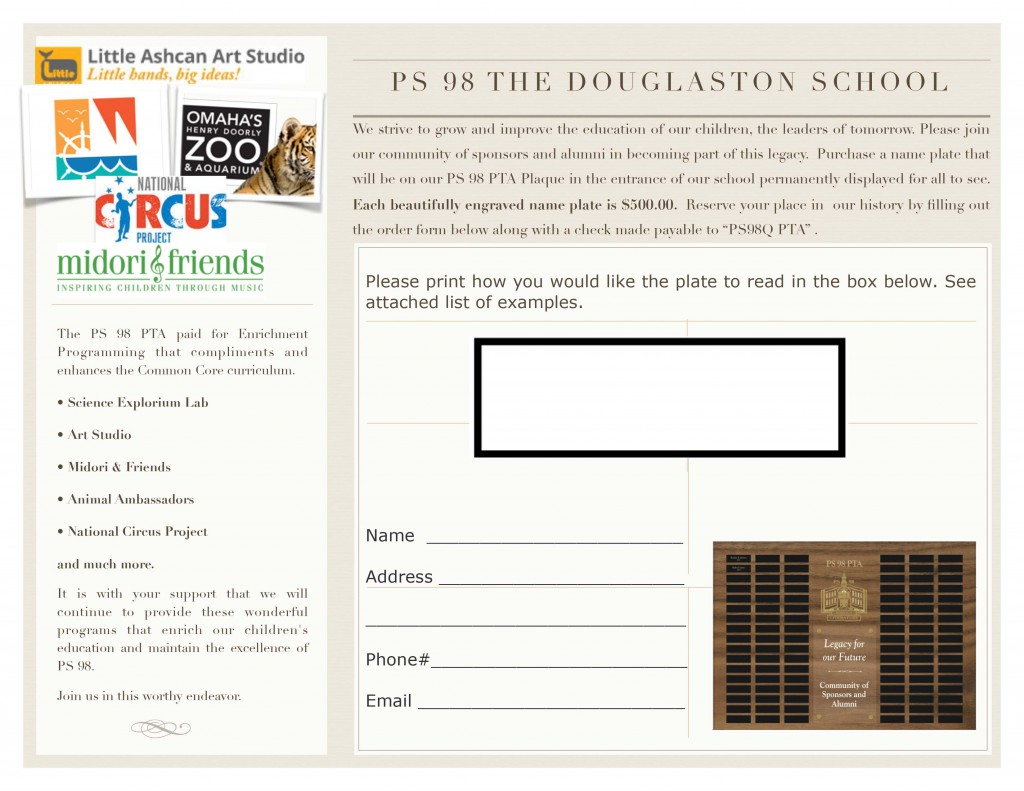 PS 98 Plaque Brochure